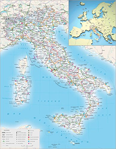 Gifts Delight Laminated 24x31 Poster: Maps of Italy Detailed map of Italy in English Tourist map of Italy Road map of Italy