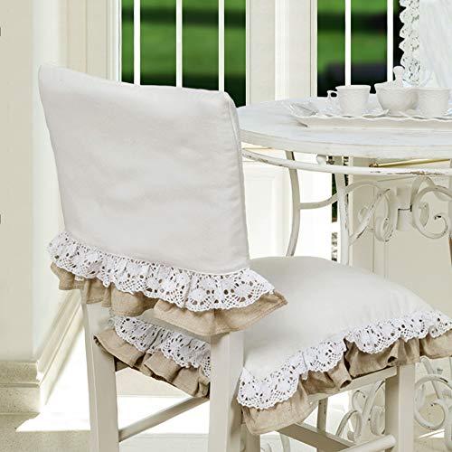 CdCasa Rückenlehne Bezug für Stuhl mit Rüschen und Spitze, Stuhlhusse, Stuhlüberzug, Stuhlbezug, Rückenlehne Bezug für Stuhl Landhaus Shabby Chic - Rüsche Volant/Häkelspitze - 46x33 - Weiß/Beige