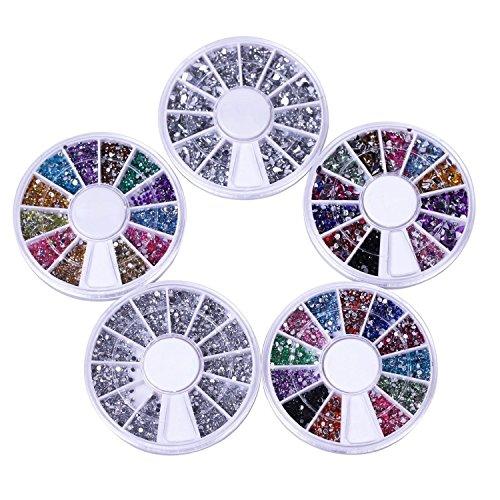 TOOGOO Nail Art Kit / Set d'accessoires pour manucure / pedicure pour deco d'ongles : 5 carroussels de nailart strass de differentes couleurs et de differentes formes. Excellent rapport prix / quantit