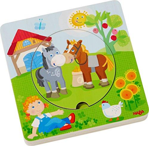 Haba 303768 Houten puzzel Boerderij Wereld | puzzelplezier in 5 lagen | Houten speelgoed vanaf 12 maanden | Stabiele houten onderdelen met kleurrijke diermotieven