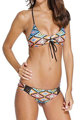 HO-Ersoka Damen Bikini-Set Neckholder Hippie Retro Surfer bunt L