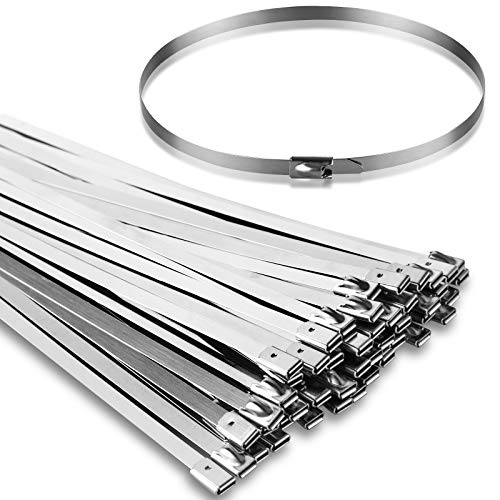50PCS 11.8Inch Metal Cable Zip Ties - 304 stainless steel Heavy Duty Self-locking Cable Wire Tie Wrap for Fence Exhaust Wrapping Car Outdoor Canopy Automotive