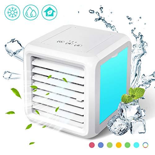 Baban 3 in1 Mini Air Cooler, Mobile Klimaanlage, Luftkühler, leiser Tischventilator, 8 LED-Lichtkonvertierungsmodi, leicht zu tragen, sehr geeignet für Büro Camping zu Hause