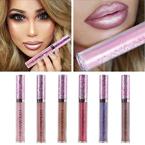 6pcs/set Sexy Glitzer Lip Makeup Wasserdichte Glänzend Lip Gloss Lipstick Nude Glitter Schimmer Lippenstift