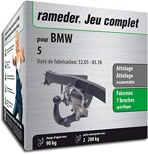 Rameder Pack, attelage escamotable + Faisceau 7 Broches Compatible avec BMW 5 (132849-04993-1-FR)