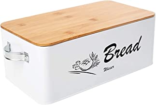 Bread Bin with Handles - Reinforced Stainless Steel Bread Box for Kitchen Countertop - Bread Storage with Bamboo Cutting B...
