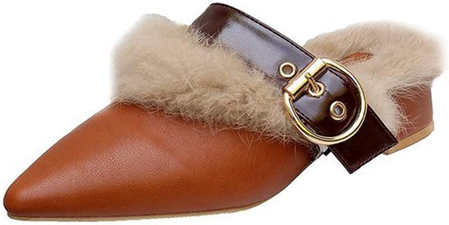 CYBLING Women's Mule Flats shoes Pointed Toe Buckle Strap Backless Fur Slipper Slip On Loafer shoes