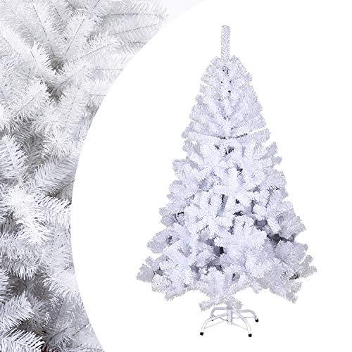 VINGO Künstlicher Weihnachtsbaum 180cm ca. 650 Weiß Tannenbaum Weihnachtsdeko schwer entflammbar,inkl. Plastikständer für den Weihnachtsdekoration