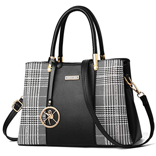 Women Purses and Handbags Top Handle Satchel Shoulder Bags Messenger Tote Bag For Ladies (p-Black)