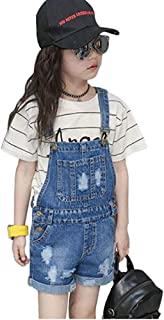 taitaibaby Girls Bib Overalls Kids Ripped Jeans with Holes Cotton Denim Long Pants Romper Jumpsuit,6-13Y