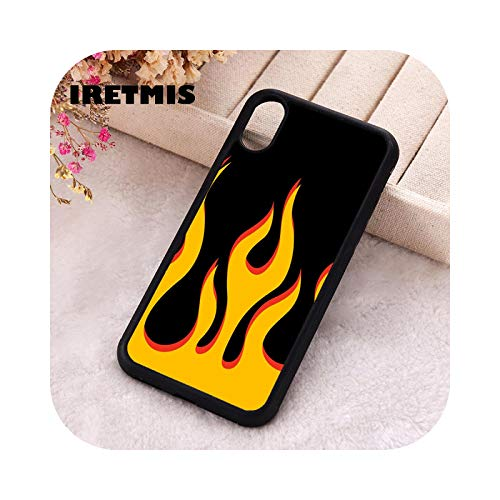 5 5S SE 2020 phone cover cases for iPhone 6 6S 7 8 Plus X XS Max XR 12 Mini Pro Soft silicona TPU naranja black flame -For iPhone 7 Plus