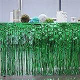 SJHFG Falda de mesa con flecos metálicos para decoración de mesa de boda, cumpleaños, vacaciones, fiestas, accesorios de decoración, color verde