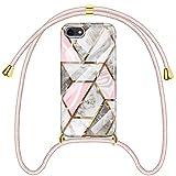 SAMCASE Funda con Cuerda para iPhone SE 2020/ iPhone 7/ iPhone 8, Carcasa Mármol Brillante Ultrafina Necklace (Extraíble) con Correa Colgante Ajustable Collar Correa de Cuello Cadena Cordón, Oro Rosa