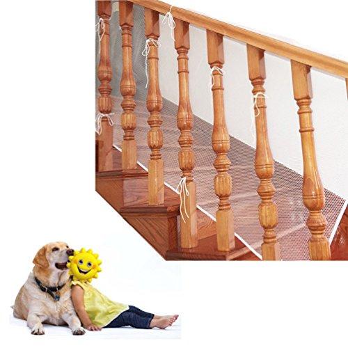 Red de seguridad para protección infantil, Malla de seguridad ajustable para balcones de escaleras o patios, 3M (blanco)