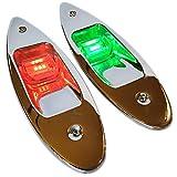 Wave One Marine   LED Stainless Flush Mount Navigation Boat Side Light Set   USCG 2NM   IP67 Waterproof   12V