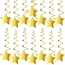 KatchOn Gold Star Hanging Swirls - No DIY Required | Graduation Decorations Party Supplies | Twinkle Twinkle Little Star Decorations | Gold Party Supplies | Baby Shower Decorations