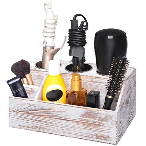 ROLOWAY Wooden Hair Tool Organizer - Blow Dryer Holder - Curling Iron Holder - Flat Iron Holder - Hair Styling Tools & Accessories Organizer - Bathroom Vanity Countertop Organizer (Rustic)