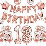 KAINSY 18 Años Decoraciones de Cumpleaños, Globos Feliz Cumpleaños Oro Rosa, 18 Globos de Cumpleaños Niñas Mujeres, Globos de Confeti de Oro Rosa Pancarta de Feliz Cumpleaños 18 Globos de Cumpleaños