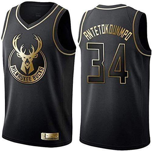 NBA Jerseys Milwaukee Bucks No.34 Antetokounmpo Jerseys - Camiseta de baloncesto transpirable bordada (color: negro A, talla: XL)