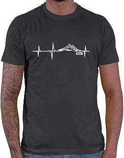 HARIZ Camiseta para hombre con diseño de latido del corazón, montañas, senderismo, escalada, incluye tarjeta de regalo
