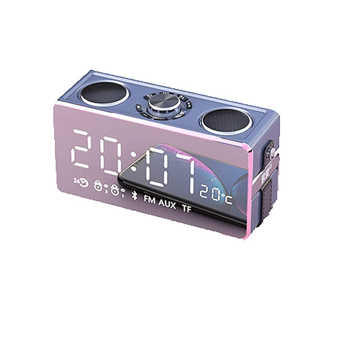 合唱団詩人に応じてHENGXIANG ワイヤレスBluetoothスピーカー太りすぎサブウーファーホーム大量屋外の携帯電話のオーディオスマート3Dサラウンド小キャノンミニ車のポータブルインパクトラジオ付き目覚まし時計 (Color : Pink)