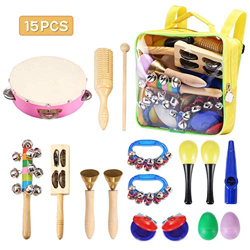 Child Percussion Instrument Set NASUM Musical Instruments Rhythm Toys Set for Kids,Colorful Design,Educational Toys,Healthy Gift,for Kindergarten Teaching,Family Learning,Playing,with a Bag (15PCS)