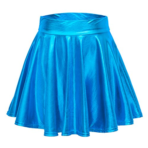 EXCHIC Women's Shiny Metallic Wet Look Stretchy Flared Mini Skater Skirt (M, Lake Blue)