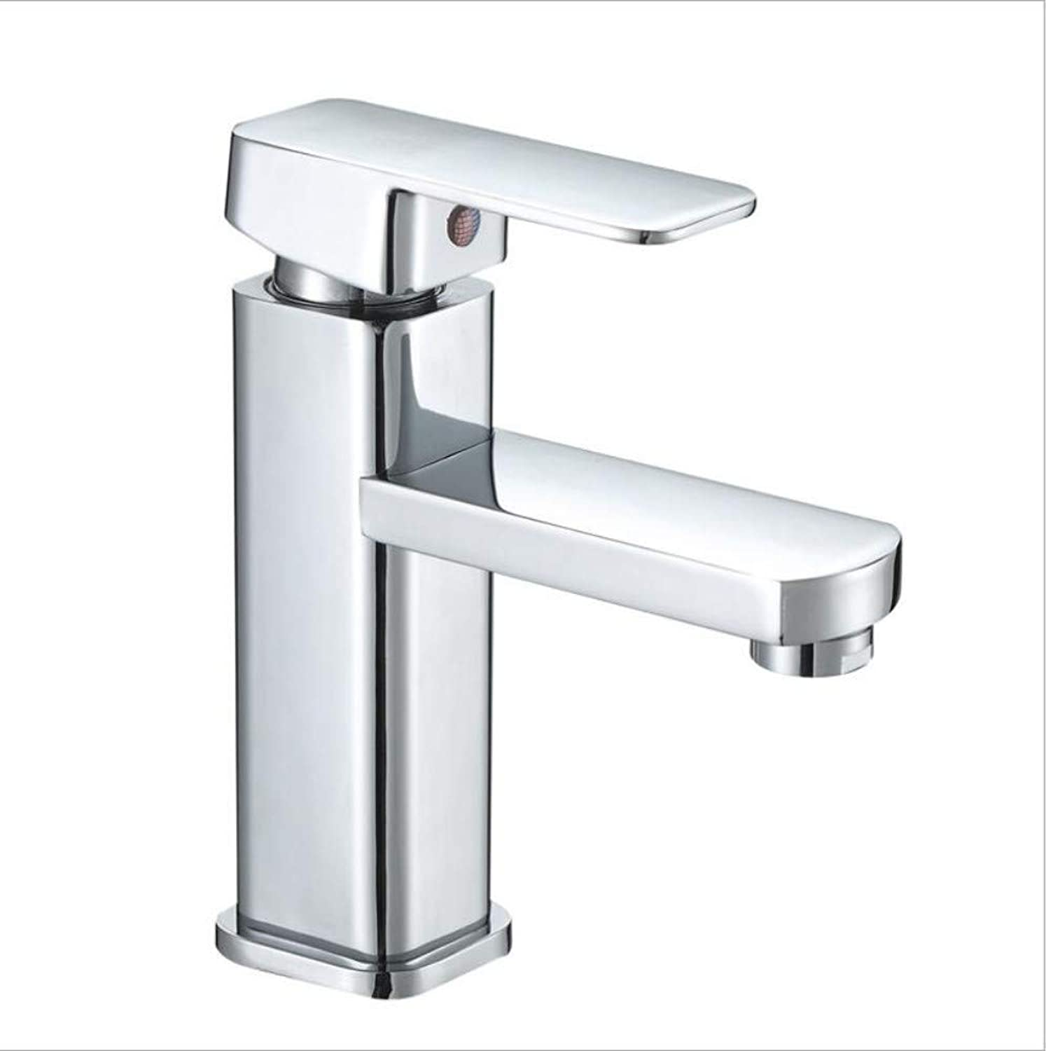 Bathroom Sink Basin Lever Mixer Tap Square Single Hole Wash Basin Hot and Cold Faucet Square Basin Bathroom Cabinet Mixing Faucet