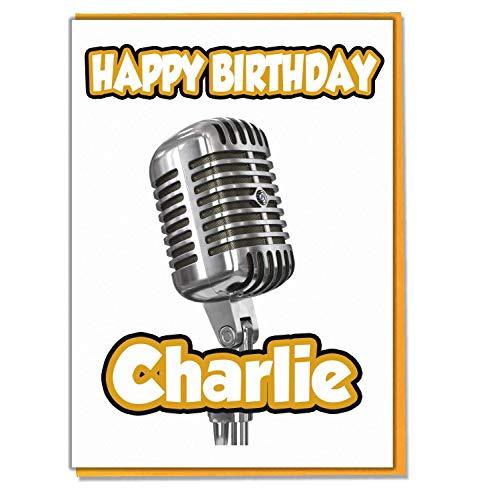 AK Giftshop Persoonlijke Microfoon Singer Verjaardagskaart - Elke Naam Leeftijd Relatief
