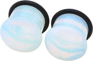 PiercingJ 6-16MM Natural Opalite Stone Ear Gauges Saddle Plugs Single Flare Stone Tunnels Expander Body Piercing Jewelry