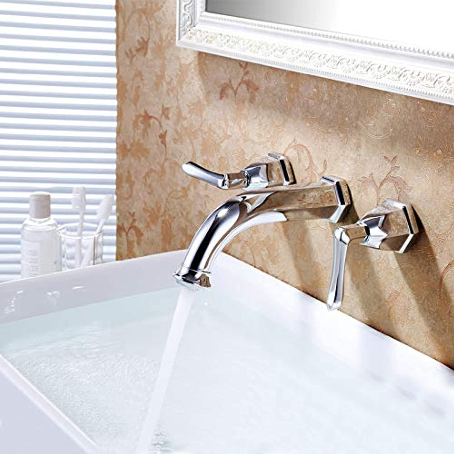 Hlluya Professional Sink Mixer Tap Kitchen Faucet The golden flush mount faucet hot and cold taps gold plated antique ORB into wall hydrants Tf8020,tf8020 Chrome color