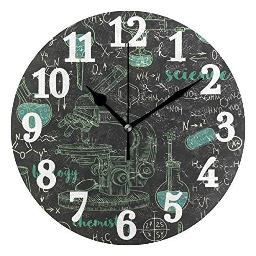 WIHVE Round Wall Clock Chemistry Laboratory Microscope Home Art Decor Non-Ticking Numeral Clock for Home Office