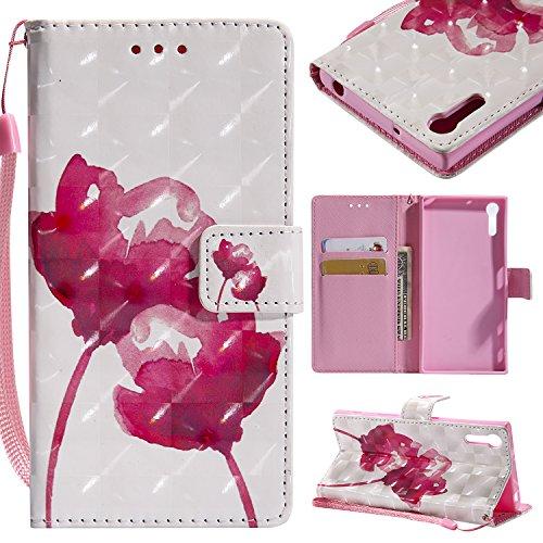 WindTeco Xperia XZ/Xperia XZs Hülle, 3D Design Folio PU Leder Flip Case Handyhülle Brieftasche Schutzhülle mit Stand Funktion und Kartenfächer für Sony Xperia XZ/Xperia XZs, Rot Blume