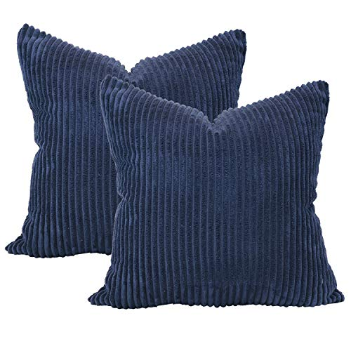 sykting Decorative Pillow Covers Striped Corduroy Plush Textured Pillow Cases for Couch Sofa Bed Chair Pack of 2 20x20 inch 50x50cm Dark Blue