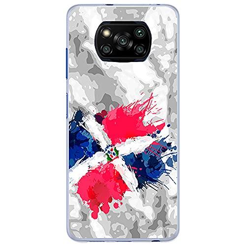 Funda Transparente para [ Xiaomi Poco X3 / Poco X3 Pro ], Carcasa de Silicona Flexible TPU, diseño : Bandera Republica Dominicana, Pintura de brocha Fondo Abstracto