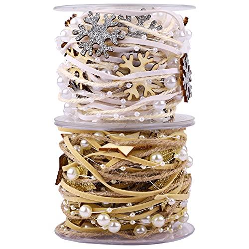 2 rollos de cinta de copo de nieve navideña de 5 m cinta de adorno de cuentas de estrella cinta para decoración de árboles de Navidad para envolver regalos de vacaciones, decoración de fiestas