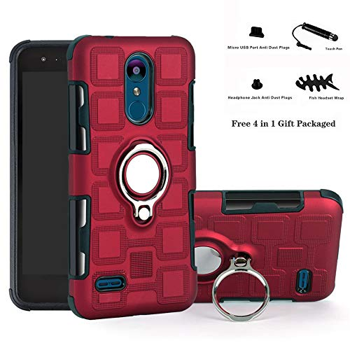 Labanema LG K8 2018 / K9 2018 Funda, 360 Rotating Ring Grip Stand Holder Capa TPU + PC Shockproof Anti-rasguños teléfono Caso protección Cáscara Cover para LG K8 2018 / K9 2018 - Rojo