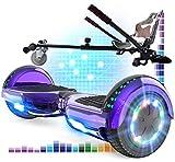 RCB Hoverboard y Hoverkart Patinete Eléctrico Scooter 6.5 Overboard con Bluetooth Self-Balancing Scooter con Luces LED Asiento Sólido Juguete para Niños