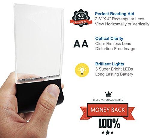 Fancii LED 2X großes rechteckiges Leselupe Handlupe mit Licht – 102 x 58 mm randlose unverzerrte Lupe mit Beleuchtung geeignet für Senioren, zum lesen von Büchern, Magazinen, Zeitungen und Landkarten - 2