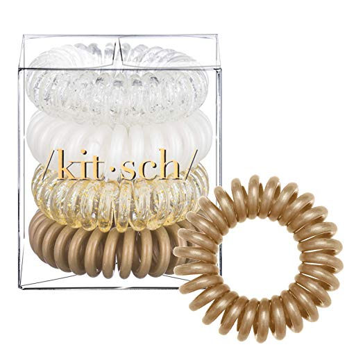 Kitsch Spiral Hair Ties, Coil Hair Ties, Phone Cord Hair Ties, Hair Coils - 4 Pcs, Blonde