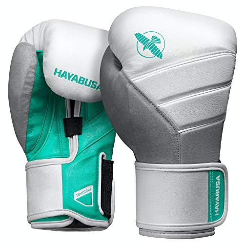 Hayabusa T3 Boxing Gloves for Men and Women - White/Teal, 10 oz