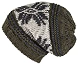 Lilax Knit Slouchy Oversized Soft Warm Winter Beanie Hat Green Snowflake
