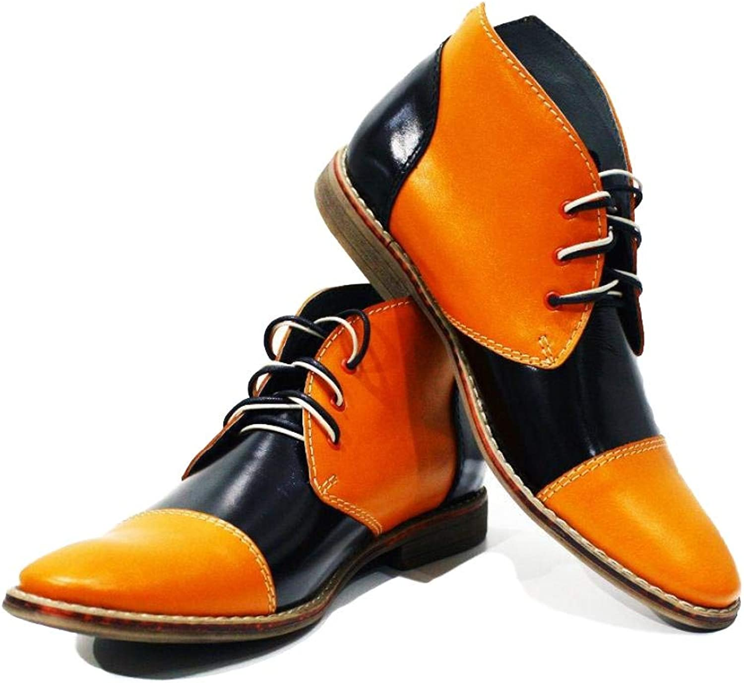 Peppeshoes Modello Alatri - Handmade Italian Leather Mens color orange Ankle Chukka Boots - Cowhide Smooth Leather - Lace-Up