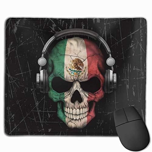Sugar Skull Hoofdtelefoon Gepersonaliseerd Ontwerp Muis Pad Gaming Mouse Pad met gestikte randen Mousepads, Anti-lip Rubber Base, 9.8x12 Inch, 3mm Dikke - Beste Gift Idee