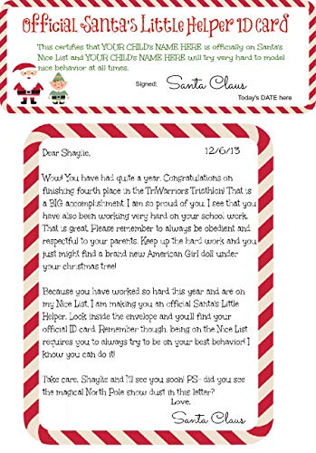 Personalized Letters From Santa and Nice List Helper ID Card for Kids, Teens, Adults, or Secret Santa, Sent Anonymously, North Pole Postmark Stamp and Santa Sticker Official Seal on the Envelope