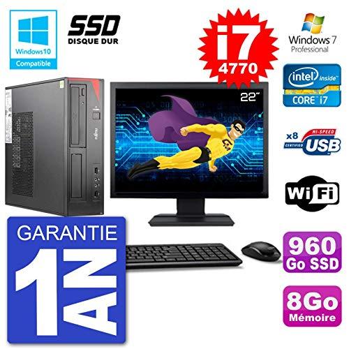 Fujitsu PC Esprimo E520 DT Bildschirm 22 Zoll i7-4770 8 GB SSD 960GB DVD W7 (Refurbished)