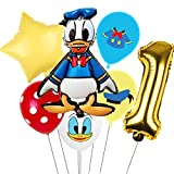 Decoración de Fiesta de Cumpleaños- Miotlsy 7 pcs Pato Donald Party's Helium Balloons Decoraciones Cumpleaños de Fiesta para Niños Globos Happy Birthday Pato Donald Party Supplies
