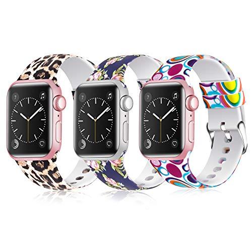JLELE para Apple Watch 38mm 42mm 40mm 44mm Correa, Soft Silicona Estilo Deportivo Reemplazo Wristband Pulseras para iWatch Series 4 3 2 1 (42mm/44mm, Z-3 Pack A)