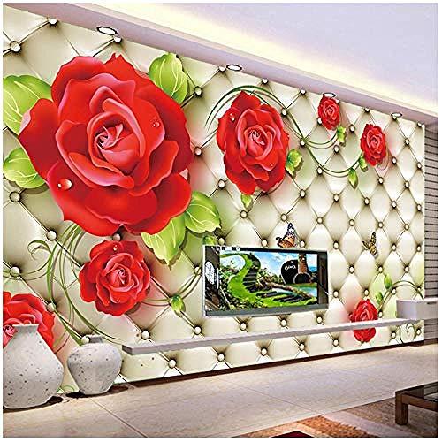 Klassieke foto behang 3D reliëf zacht pak rode roos mooie bloem muurschildering woonkamer bruiloft huis H behang grijs muur Sticker rand woonkamer voor slaapkamer Rose blauwe muurschildering kinderen 30 cm.