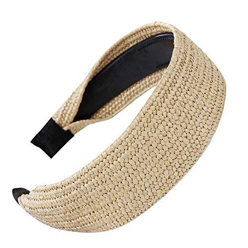 VJGOAL Diademas laterales anchas para mujer Moda Nudo de lazo vintage Tejido a mano Pelo de rafia Aro para la cabeza Niñas Dulce Diadema Accesorios para el cabello